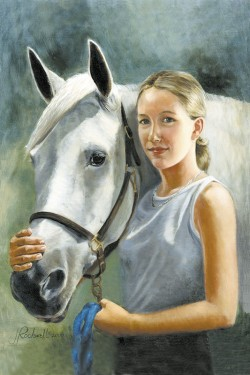 Portrait in oil of teen girl with her horse