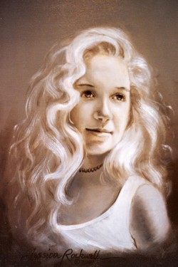 Commissioned oil portrait of teen girl head and shoulders