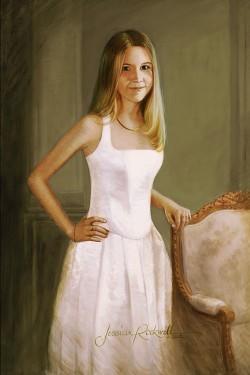 Custom Oil Portrait of teenage girl in white formal dress