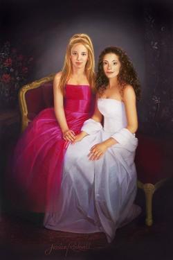 full-length oil portrait painting of 2 teen sisters in formal wear