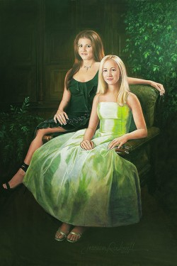 commissioned oil portrait of 2 teen sisters in full length gowns