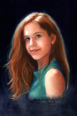 teen girl portrait in oil head and shoulders from side
