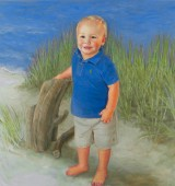 Commissioned Oil Portrait of Little Boy in Blue on Beach