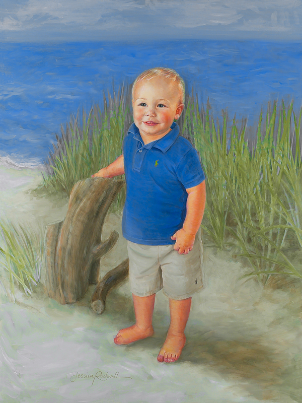 4 Year Boy Bedroom Decorating Ideas: Commissioned Oil Portrait Of Little Boy In Blue On Beach