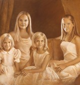 Family Oil Portrait of 4 Sisters