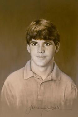 teenage boy painted in oils