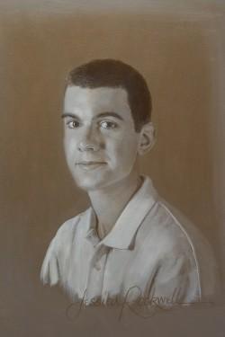 teenage boy portrait in oil paints