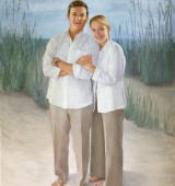 Grown Twins at the Beach in a Loving Oil Portrait Painting for a Father