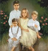 Custom Painted Portrait of 4 Children in a Garden