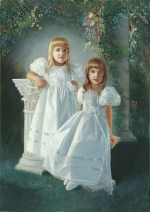 Family oil portraits - 2 young sisters in a garden