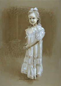 Portraits - a little girl painted in oil