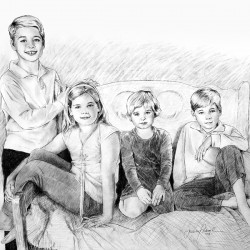 charcoal drawing of 4 children