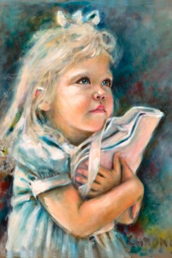Oil Portrait of Little Girl with Baby Wrapper