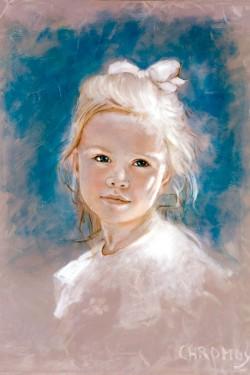 portrait in oil of little girl