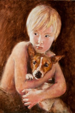 oil portrait of little boy with his dog