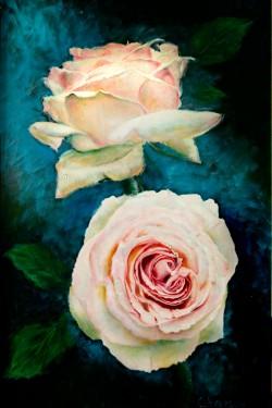 oil portrait of roses