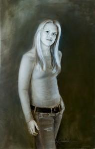 casual oil portrait in jeans