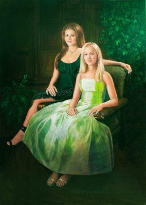 Portrait Painter makes oil portrait of beautiful sisters
