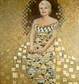 "Glittering Abstract Painted Portrait à la ""Woman in Gold"""