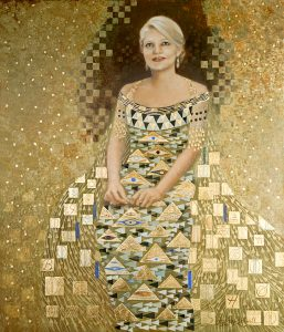 glittering abstract painted portrait of Jessica Rockwell's Woman in Gold homage