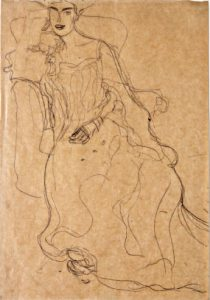 "one of Gustav Klimt's sketches for his famous Austrian Expressionistic ""Woman in Gold"""